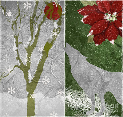 Red Moon Christmas Wolf Poster by Mindy Sommers