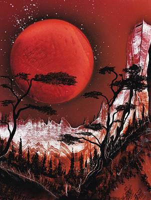 Poster featuring the painting Red Moon by Jason Girard