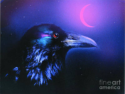 Red Moon Raven Poster by Robert Foster