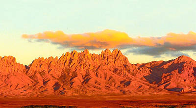 Red Mountain Sunset Organs Poster