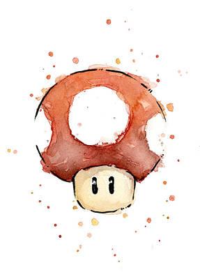 Red Mushroom Watercolor Poster by Olga Shvartsur