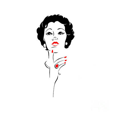 Poster featuring the digital art Red Nails Red Lips by Cindy Garber Iverson