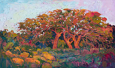 Poster featuring the painting Red Oak Light by Erin Hanson