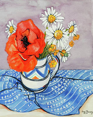 Red Oriental Poppy And Marguerites In A Honiton Jug Poster by Joan Thewsey