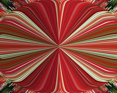 Red Oval Abstract Poster by Marian Bell