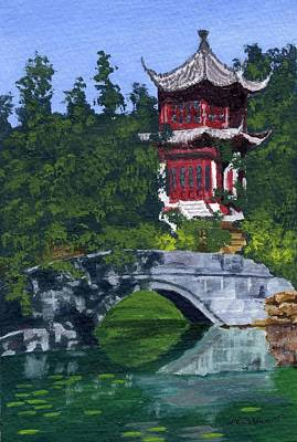 Poster featuring the painting Red Pagoda by Lynne Reichhart