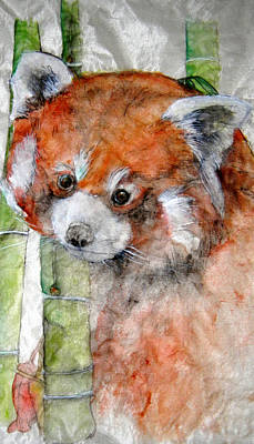 Poster featuring the painting Red Panda Portrait by Debbi Saccomanno Chan
