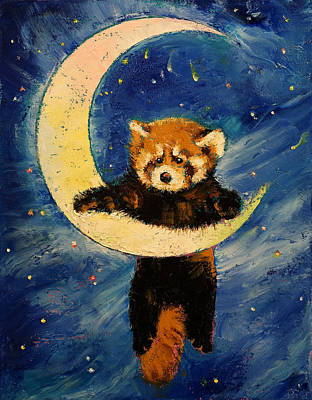 Red Panda Stars Poster by Michael Creese