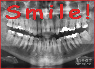 Red Panoramic Dental X-ray With A Smile  Poster by Ilan Rosen