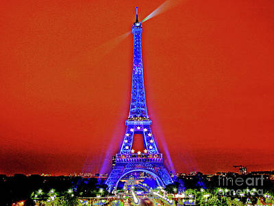 Red Paris Sunset  Eiffel Tower Poster