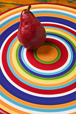 Red Pear On Circle Plate Poster by Garry Gay