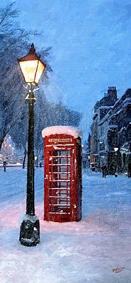Poster featuring the painting Red Phone Box by James Shepherd