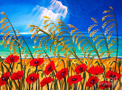 Red Poppies And Sea Oats By The Sea Poster