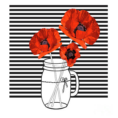 Red Poppies In Mason Jar Poster