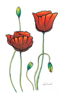 Red Poppies Painting Contemporary Unique Pop Art Style Poppy By Megan Duncanson Poster by Megan Duncanson