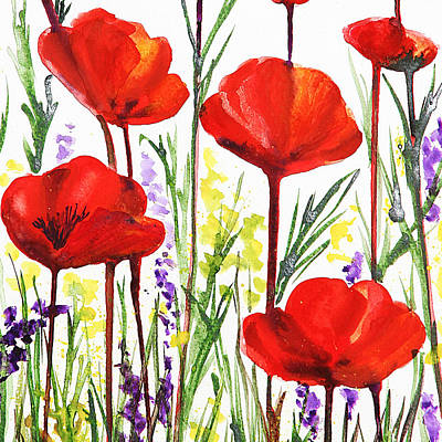 Poster featuring the painting Red Poppies Watercolor By Irina Sztukowski by Irina Sztukowski