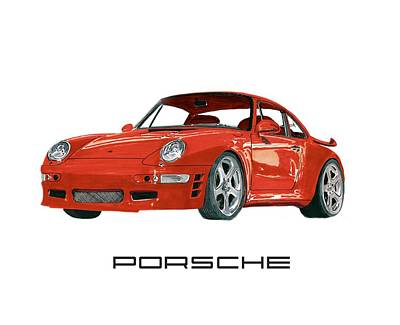 Red Porsche 993 1997 Twin Turbo R Poster