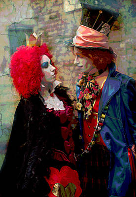 Red Queen And Mad Hatter Poster by Suzanne Powers