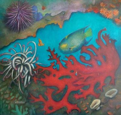 Poster featuring the painting Red Reef by Lynn Buettner