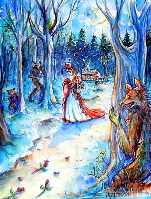 Poster featuring the painting Red Riding Hood And Werewolves by Heather Calderon