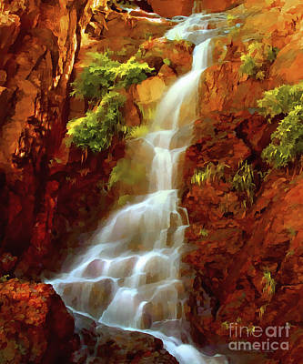 Poster featuring the painting Red River Falls by Peter Piatt