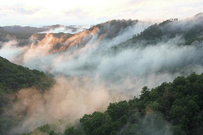 Red River Gorge Kentucky Fog In Mountains At Sunset After A Storm 2 Poster by Design Turnpike
