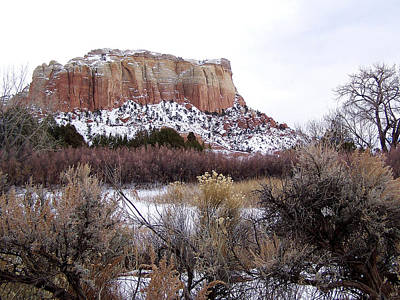 Red Rock Butte In Snow Poster