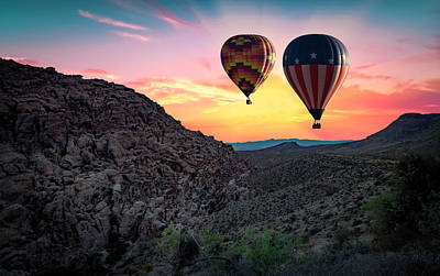 Red Rock Canyon Balloons At Sunrise Poster by Ed Roth