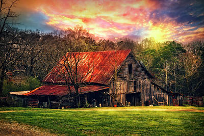 Red Roof At Sunset Poster by Debra and Dave Vanderlaan