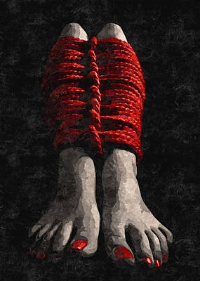 Red Ropes - Arty Bdsm, Bondage Play, Feets Fetish Poster by BDSM Love