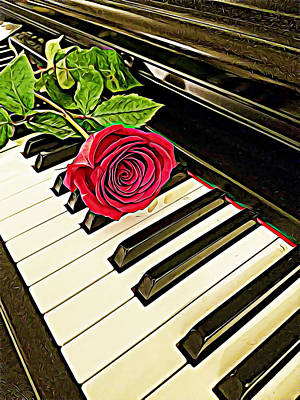 Red Rose On A Piano  Poster