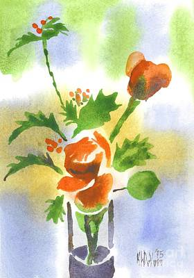 Poster featuring the painting Red Roses With Holly by Kip DeVore