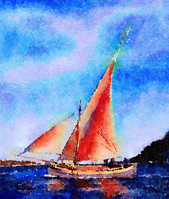 Poster featuring the painting Red Sails Delight by Angela Treat Lyon