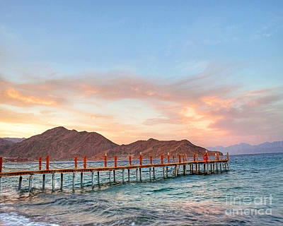 Red Sea Sunset Over Harbour Poster