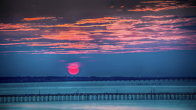 Red Setting-sun Over The Lynnhaven Fishing Pier Poster by Robert Anastasi