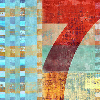 Red Seven And Stripes Mixed Media Poster