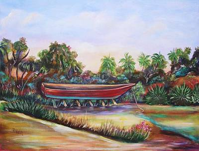 Poster featuring the painting Red Skiff by Patricia Piffath