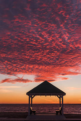 Red Sky At Night Gazebo Seaside New Jersey Poster by Terry DeLuco
