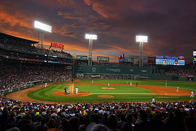 Red Sky Over Fenway Park Poster