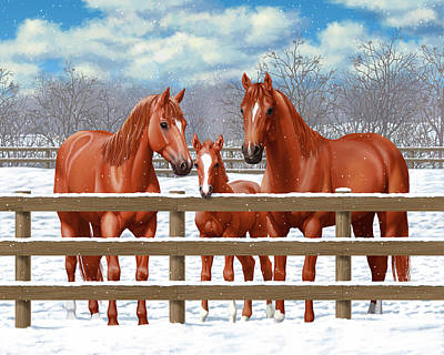 Red Sorrel Quarter Horses In Snow Poster by Crista Forest