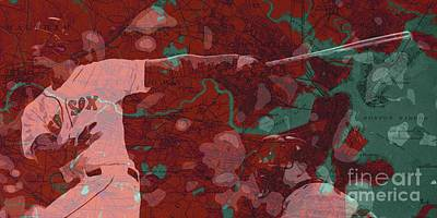 Red Sox Baseball Player On Boston Harbor Map Poster by Pablo Franchi