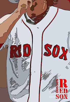 Red Sox Baseball Team White And Red Poster