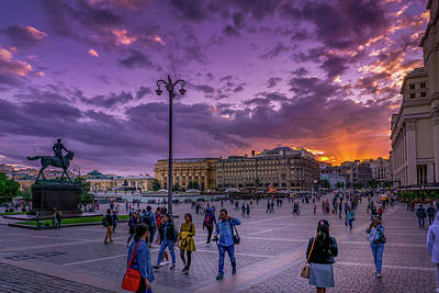 Red Square At Sunset Poster