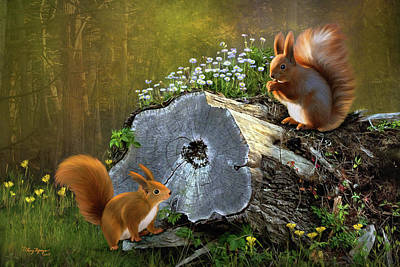 Poster featuring the digital art Red Squirrels by Thanh Thuy Nguyen