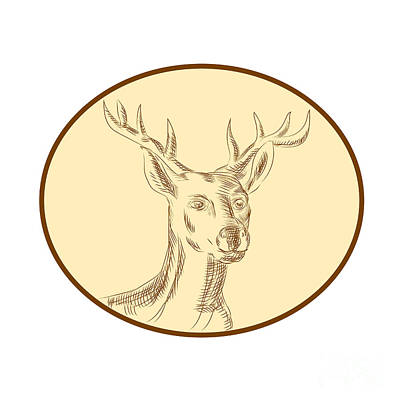 Red Stag Deer Head Circle Etching Poster