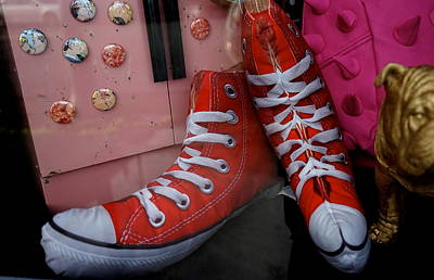 Red Stuffed Whimsical High Tops Poster by Shirley Stevenson Wallis