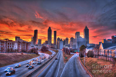 Red Sunset Atlanta Downtown Cityscape Poster