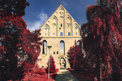 Red Surreal Abbey Ruins Poster