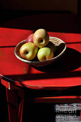 Red Table Apple Still Life Poster
