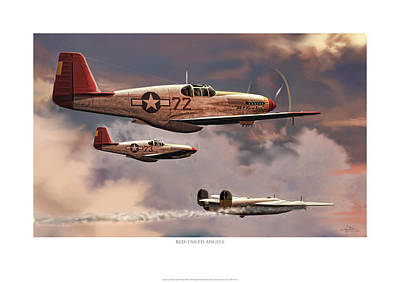 Red-tailed Angels Tuskegee Airmen P-51c Mustang Poster by Craig Tinder